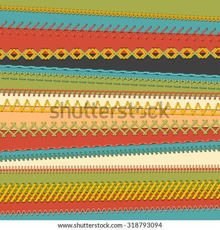 Set of seamless stitch brushes. Vector set of sewing borders, seams, page decorations and dividers on textile background. All used pattern brushes included. - stock vector