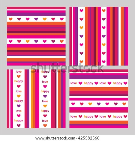 Set of seamless summer patterns with hearts and colored stripes. Wrapping paper for Mother's Day, birthday, wedding. Vector illustration.