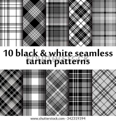 Set of seamless tartan pattern - stock vector