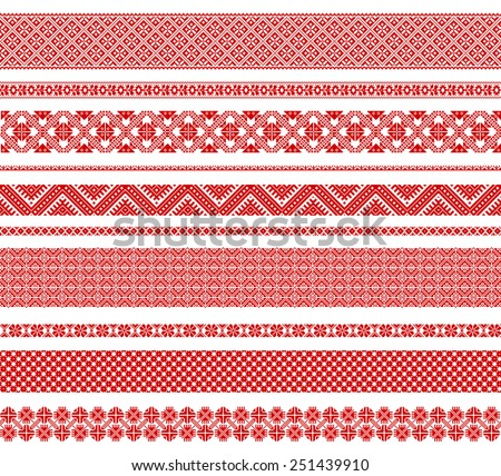 Set of seamless traditional national embroidered patterns - stock vector