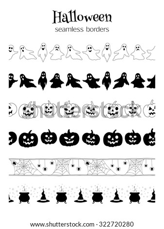 Set of seamless vector borders for Halloween design. Can be used as pattern brushes. - stock vector