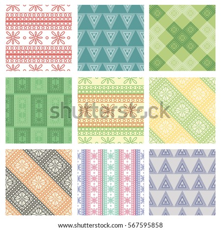 Set of seamless vector geometric colorful patterns with ornamental elements,endless background with ethnic motifs. Graphic vector illustration. Series- sets of vector seamless patterns