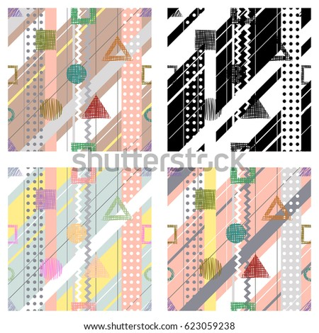 Set of seamless vector geometrical abstract patterns with lines, dots, diagonal stripes. Endless backgrounds with different hand drawn geometric figures.