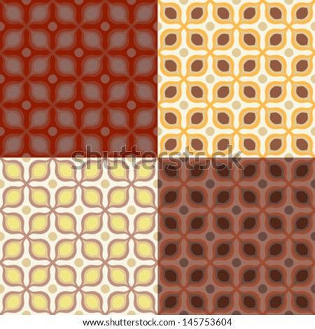 Set of 4 seamless vector pattern with bold geometric shapes in 1970s style. Texture background for web, print, home decor, summer fall fashion textile, wrapping paper, wallpaper, website background - stock vector