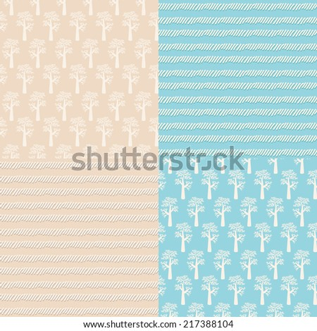 Set of 4 seamless vector patterns. Stylish backgrounds.  - stock vector