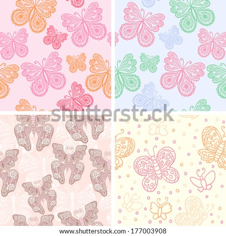 Set of 4 seamless vector patterns with butterflies