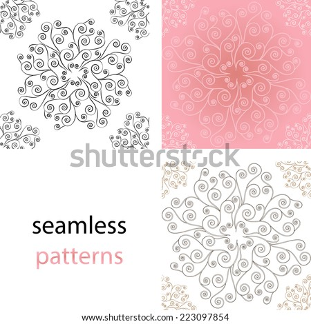 Set of seamless vintage  background with lace round the pattern of swirls