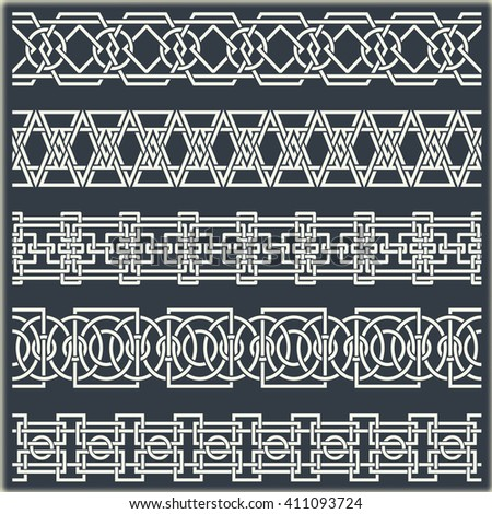Set of seamless vintage borders in the form of celtic ornament  - stock vector