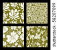 "Set of seamless vintage floral pattern (from my big ""Seamless pattern collection"") - stock photo"
