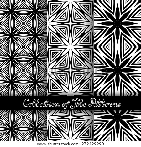 Set of 3 Seamless Vintage Patterns (Vector). Black and White Design. Hand Drawn Tile Texture, Ethnic Ornament - stock vector