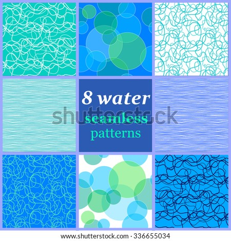Set of 8 seamless water patterns. Waves, bubbles, water ripple. Backgrounds & textures shop. - stock vector