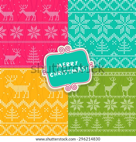 set of seamless wrapping paper for Christmas gift - stock vector