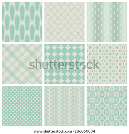 set of 9 seamlessly tiling small patterns (saved in the patterns/colors palette) - stock vector