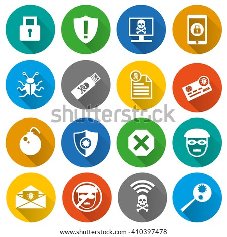 Set of security, cyber and hacker flat icons with long shadow effect in the circles. Isolated on white background. - stock vector