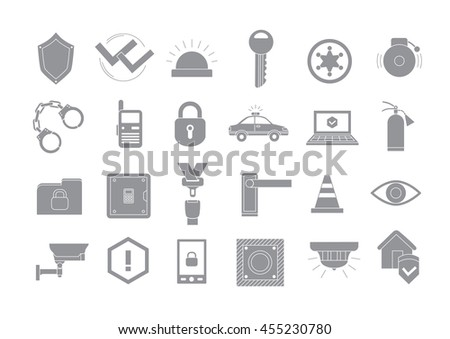 Set of 24 Security system gray vector icons