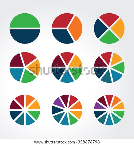 Set of segmented spheres used as charts, diagrams and for infographics - stock vector