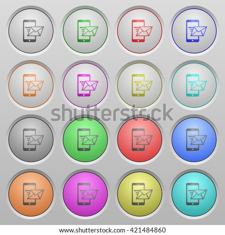 Set of sending email plastic sunk spherical buttons. - stock vector