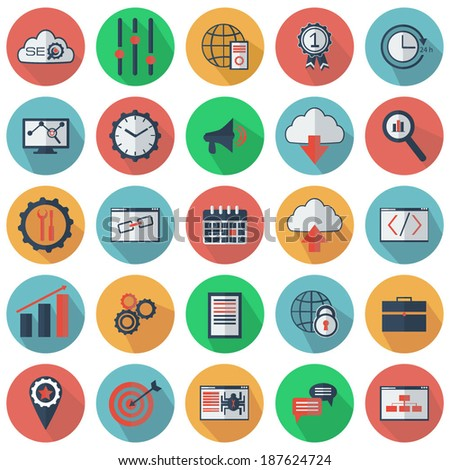 Set of SEO and development icons. Flat style. Vector illustration - stock vector