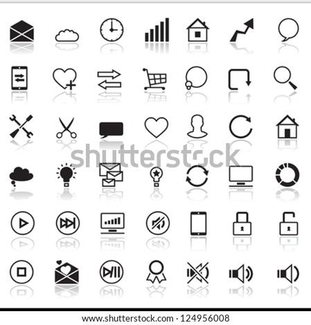 Set of 42 SEO internet icons. - stock vector