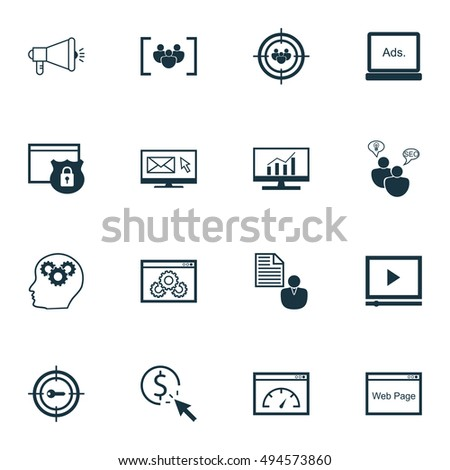 Set Of SEO, Marketing And Advertising Icons On Page Speed, Focus Group, Viral Marketing And More. Premium Quality EPS10 Vector Illustration For Mobile, App, UI Design.