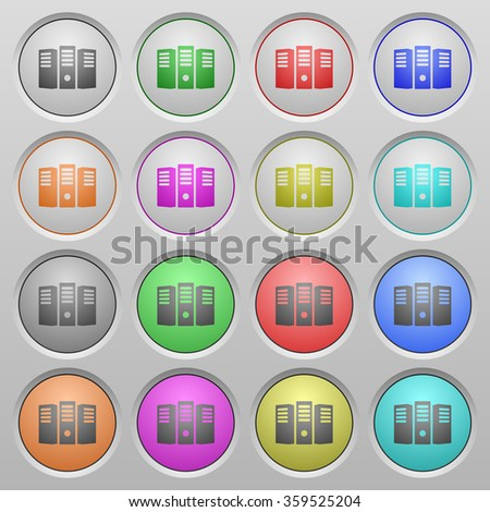 Set of Server hosting plastic sunk spherical buttons. - stock vector