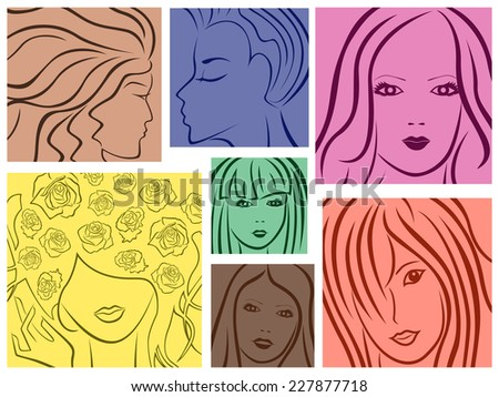 Set of seven abstract colored sketching portraits of young women, vector illustration