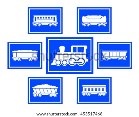 set of seven blue concept train icons - stock vector
