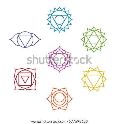 Set Seven Chakra Symbols Yoga Meditation Stock Vector Royalty Free