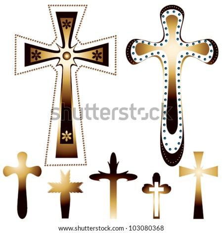 set of seven christian crosses - vector illustration - stock vector