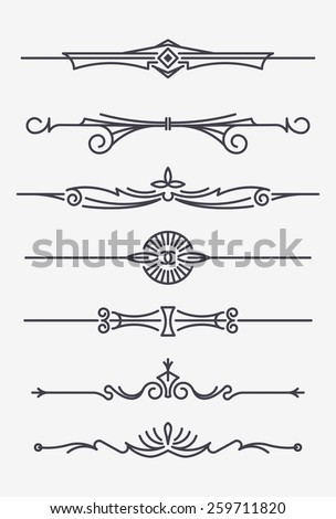 Set of seven decorative text dividers - stock vector