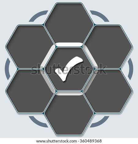 Set of seven hexagons for your text and check box - stock vector