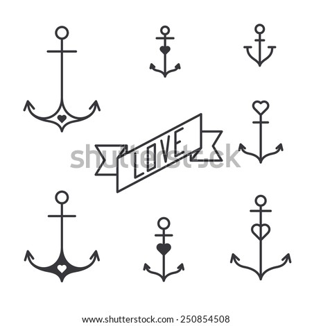 Set of seven lined anchors in tattoo style, vector - stock vector