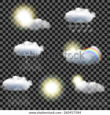 Set of seven realistic transparent weather icons - stock vector