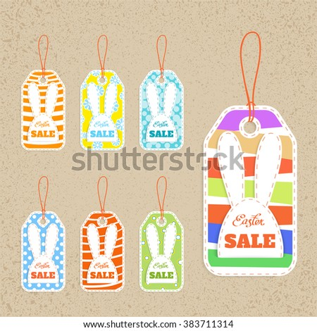set of seven tags on  easter  theme, sale, vector illustration - stock vector