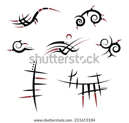 set of seven tribal tattoos - stock vector