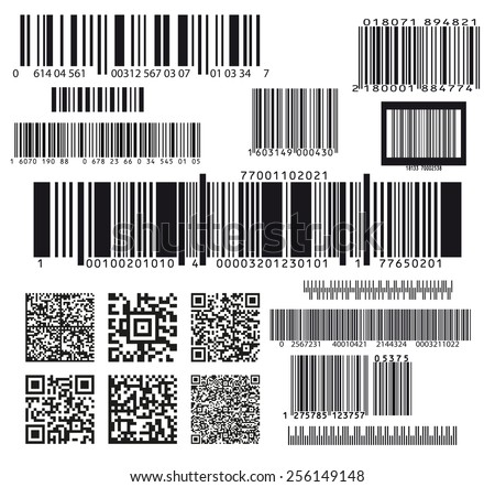 set of seventeen barcodes - stock vector