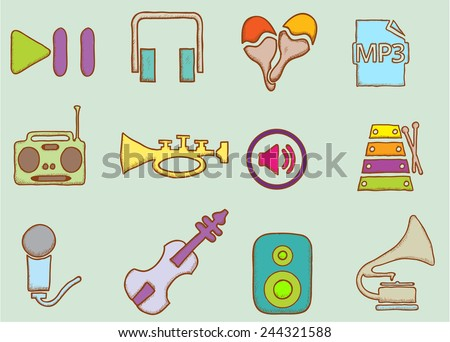 set of several doodle music icons, well grouped and editable