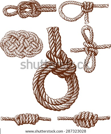 Set of several nautical knots isolated on white
