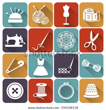 Set of sewing and needlework icons. Collection of flat design elements. Vector illustration. - stock vector