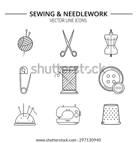 Set of sewing and needlework line icons. - stock vector