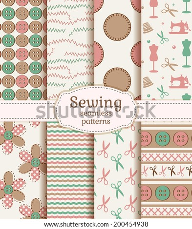 Set of sewing and needlework seamless patterns in pastel colors. Vector illustration. - stock vector