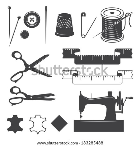 Set of sewing designed elements - stock vector