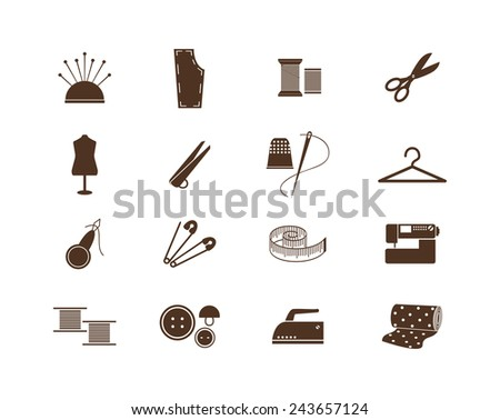 Set of sewing equipment icons for handmade and needlework. Vector illustration - stock vector