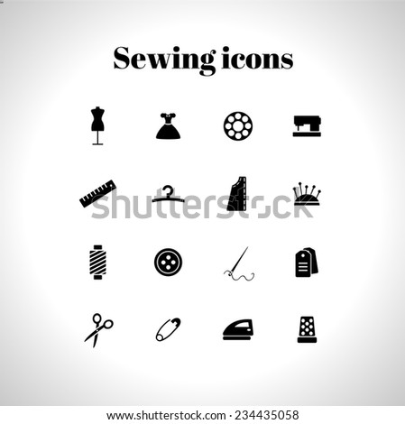 set of sewing flat icons - stock vector