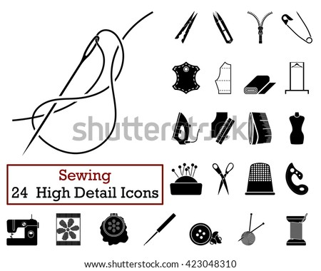 Set of 24 Sewing Icons in Black Color. Vector illustration.