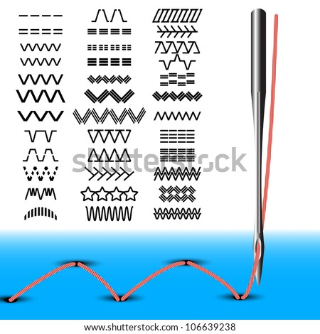 Set of sewing stitches. Needle sewing machine with thread. Vector illustration. - stock vector