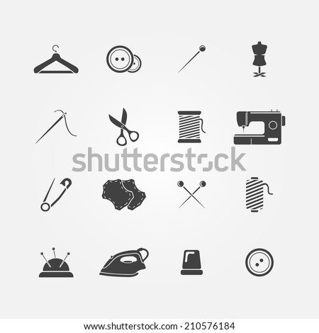 Set of 16 sewing tools icons - vector sewing equipment - stock vector