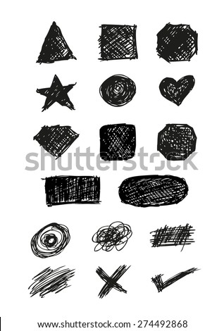 Set of Shapes, Icons and Scratches silhouette style handsketch illustration. editable EPS10  - stock vector