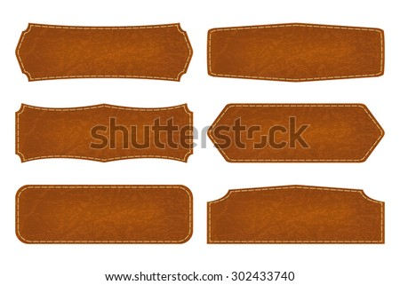 Set of 6 shapes leather sign labels. Vector illustration - stock vector