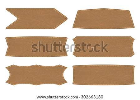 Set of 6 shapes of leather  tag or leather sign labels on white background. Vector illustration